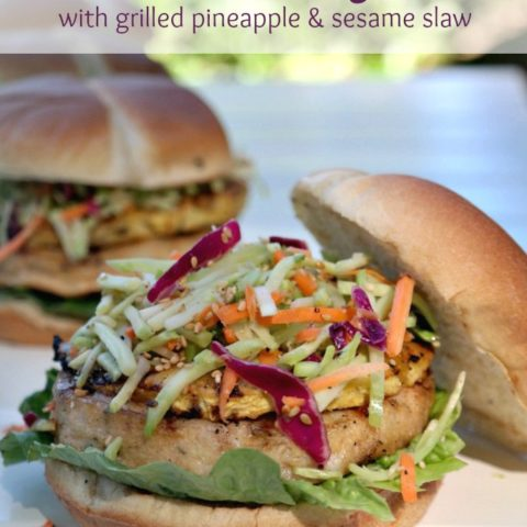 Fish Burgers with Grilled Pineapple & Sesame Slaw
