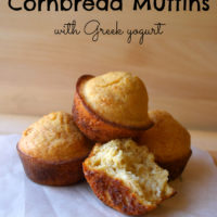 Honey Cornbread Muffins with Greek Yogurt