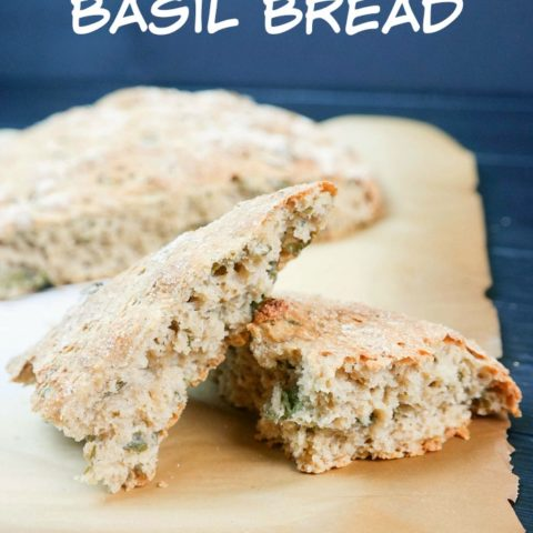 No Knead Whole Wheat Basil Bread