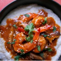 Sriracha Sesame Shrimp and Grits