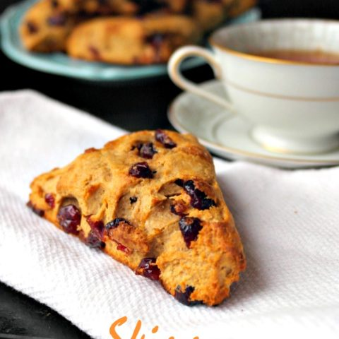 Skinny Vanilla Chai Scones with Dried Cranberries