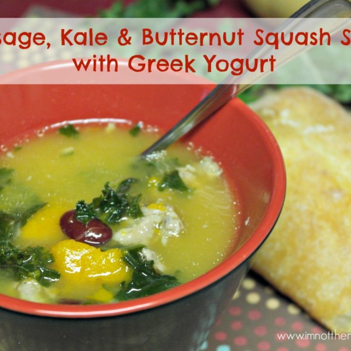 Sausage, Kale & Butternut Squash Soup with Greek Yogurt