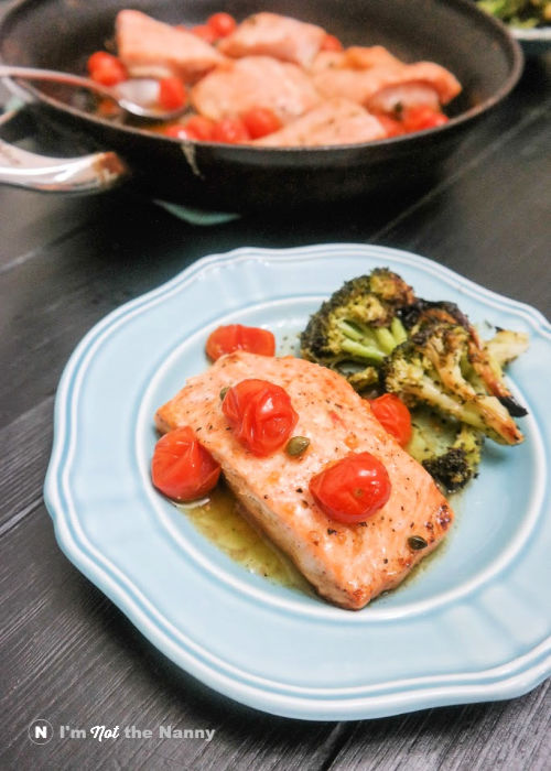 Brown Butter Salmon plated