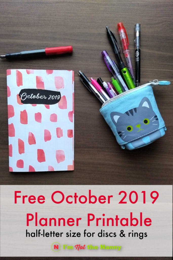 October 2019 Free Printable Planner for discs and rings