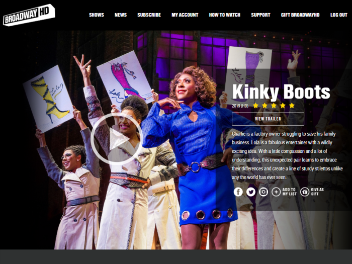 Kinky Boots on BroadwayHD